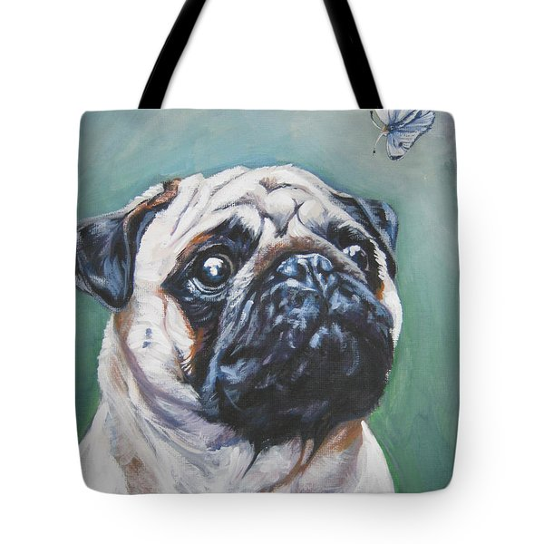 Pug With Butterfly Tote Bag