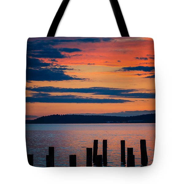 Puget Sound Sunset Tote Bag
