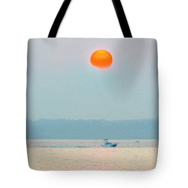 Puget Sound Under The Heavy Smoke Tote Bag