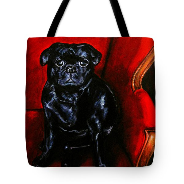 Tote Bag featuring the painting Puggsley by Thomas Lupari