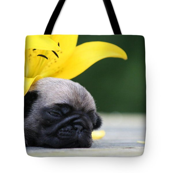 Puggy Face Bouqet Tote Bag