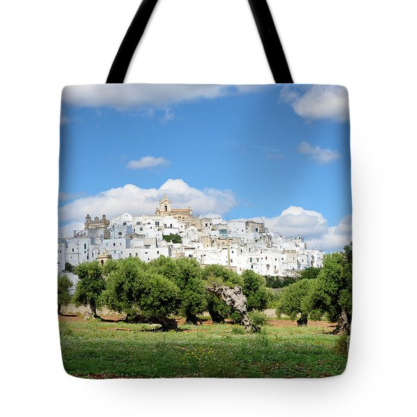 Puglia White City Ostuni With Olive Trees Tote Bag