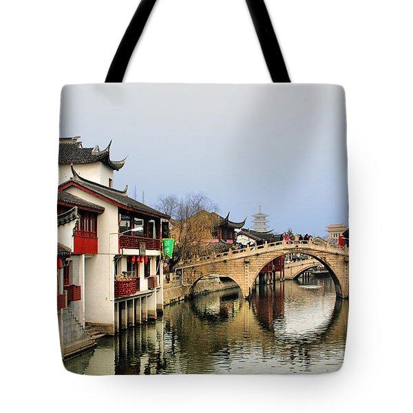 Puhuitang River Bridge Qibao - Shanghai China Tote Bag by Christine Till