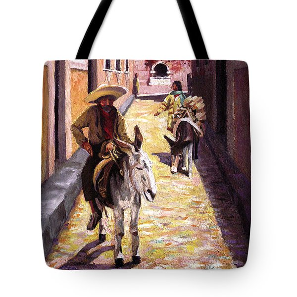 Pulling Up The Rear In Mexico Tote Bag by Nancy Griswold