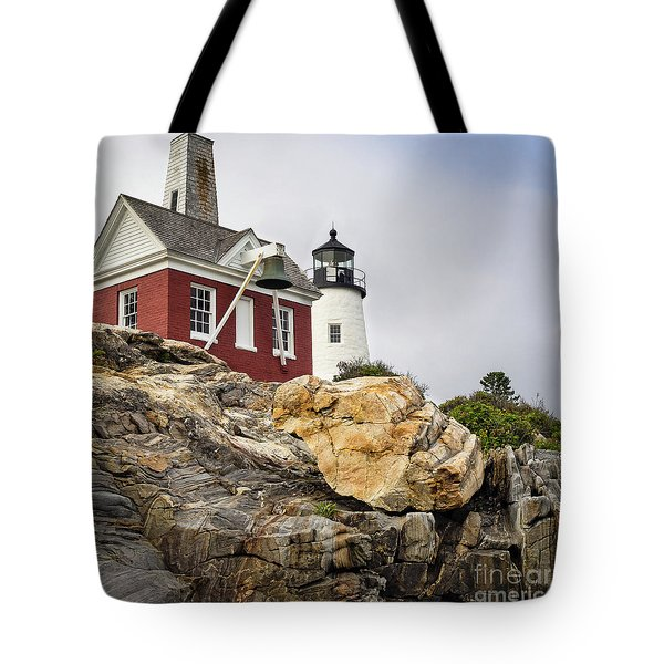 Pumphouse And Tower, Pemaquid Light, Bristol, Maine  -18958 Tote Bag