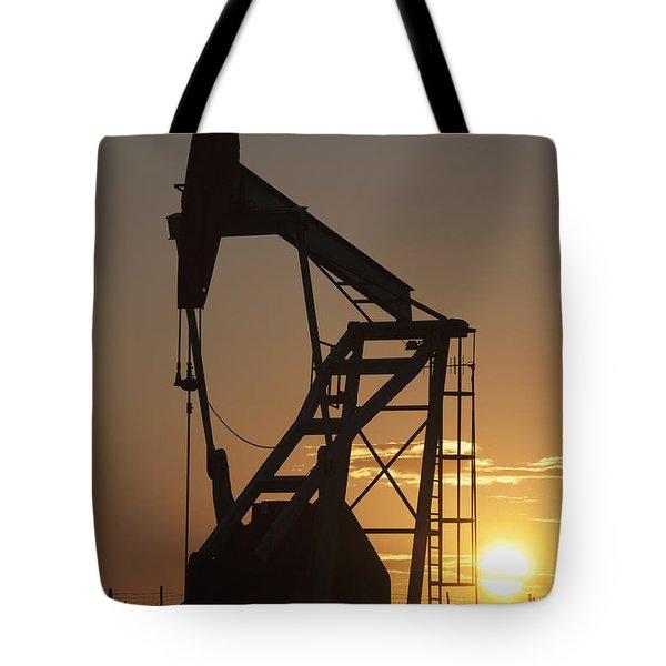 Pumpjack Silhouette Tote Bag by Michael Interisano