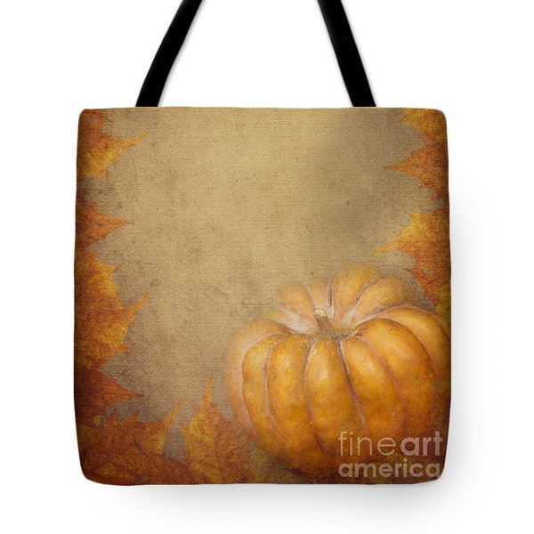 Pumpkin And Maple Leaves Tote Bag