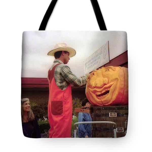 pumpkin Carver moon bay Tote Bag by Ted Pollard
