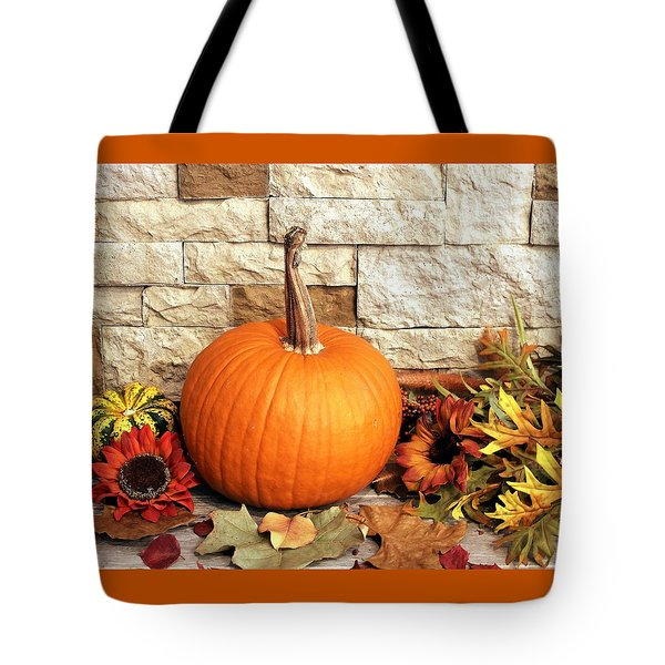 Tote Bag featuring the photograph Pumpkin Fall Decor by Sheila Brown