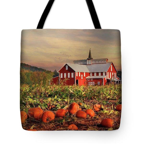 Pumpkin Farm Tote Bag by Lori Deiter
