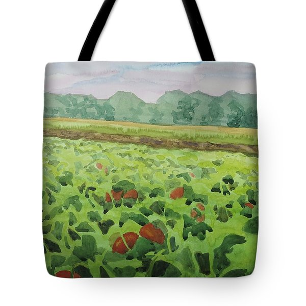 Pumpkin Field Tote Bag by Bethany Lee