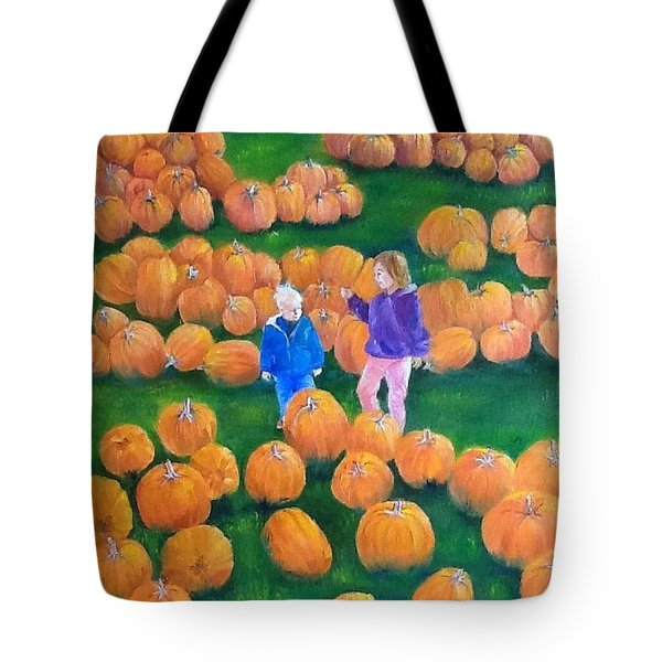 Tote Bag featuring the painting Pumpkin Patch by Ellen Canfield
