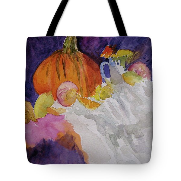 Tote Bag featuring the painting Pumpkin Still Life by Beverley Harper Tinsley