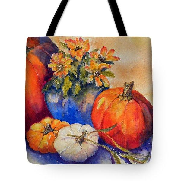 Pumpkins And Blue Vase Tote Bag
