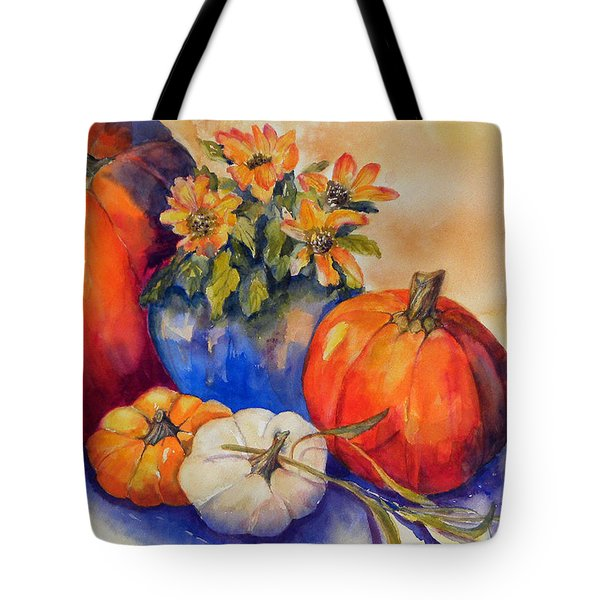 Pumpkins And Blue Vase Tote Bag