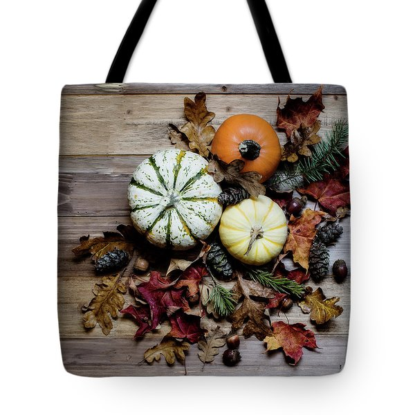 Pumpkins And Leaves Tote Bag