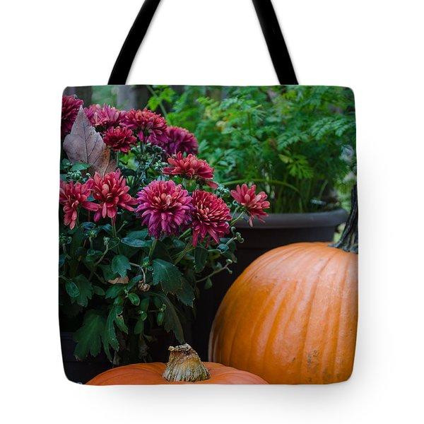 Pumpkins And Mums Tote Bag