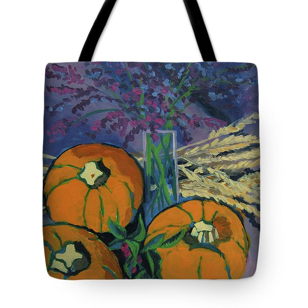 Tote Bag featuring the painting Pumpkins And Wheat by Erin Fickert-Rowland