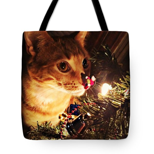 Pumpkin's First Christmas Tree Tote Bag by Kathy M Krause