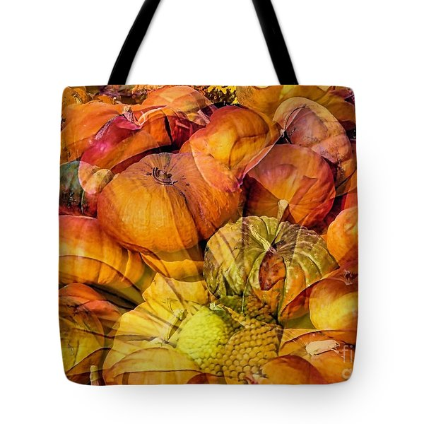 Pumpkins Floral Composite  Tote Bag by Janice Drew