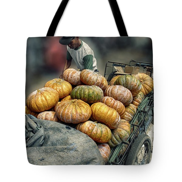 Tote Bag featuring the photograph Pumpkins In The Cart  by Charuhas Images