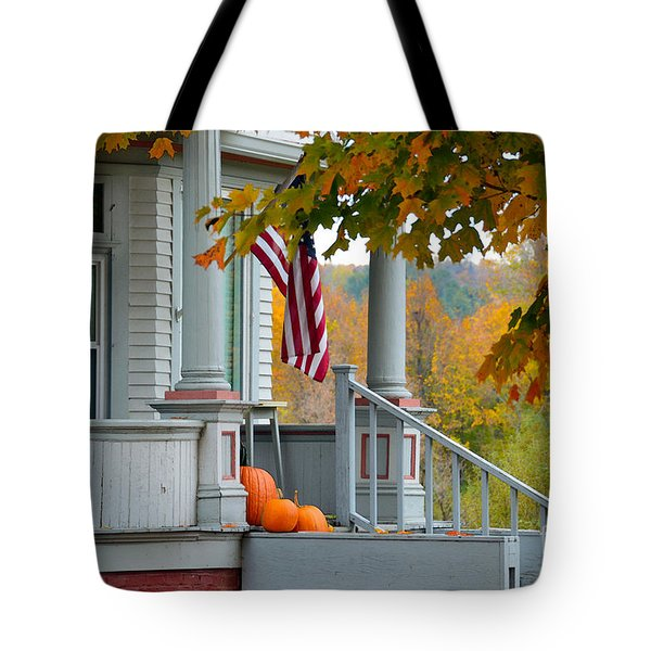 Pumpkins On A Vermont Porch Tote Bag by Catherine Sherman