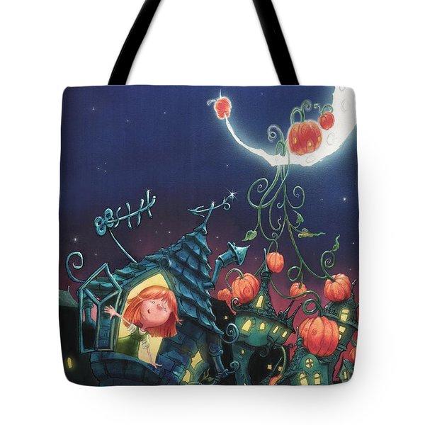 Pumpkins On The Moon Tote Bag