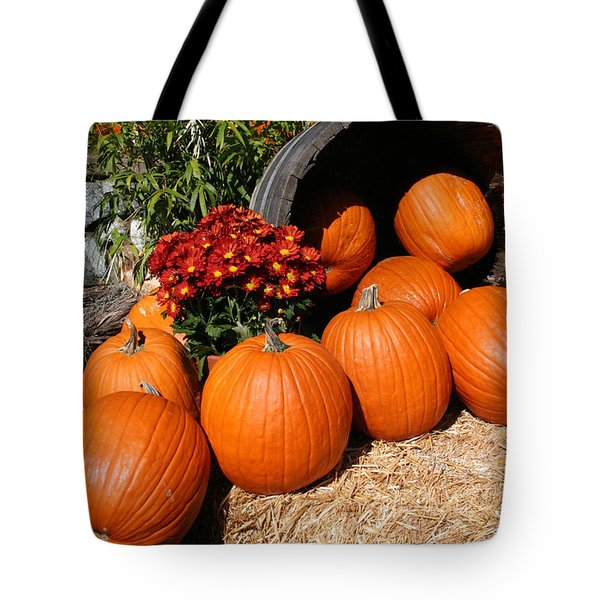 Tote Bag featuring the mixed media Pumpkins- Photograph By Linda Woods by Linda Woods
