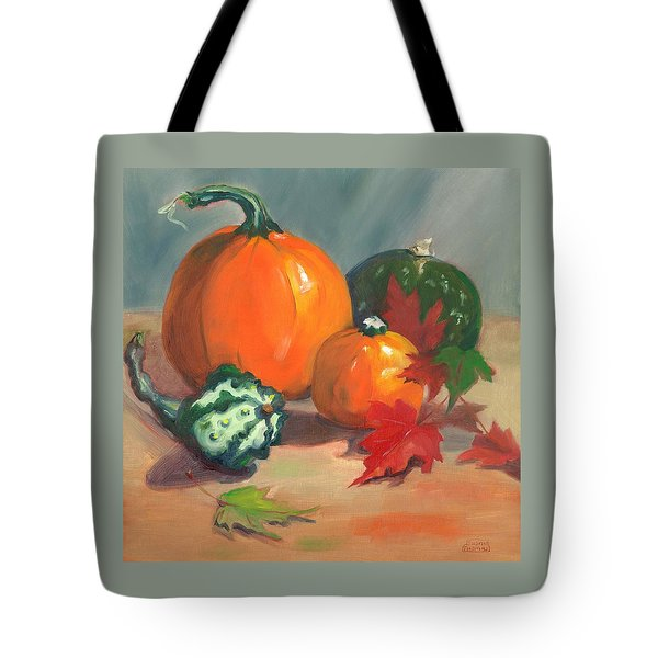 Tote Bag featuring the painting Pumpkins by Susan Thomas