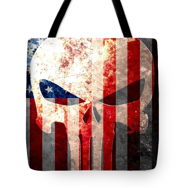Punisher Themed Skull And American Flag On Distressed Metal Sheet Tote Bag