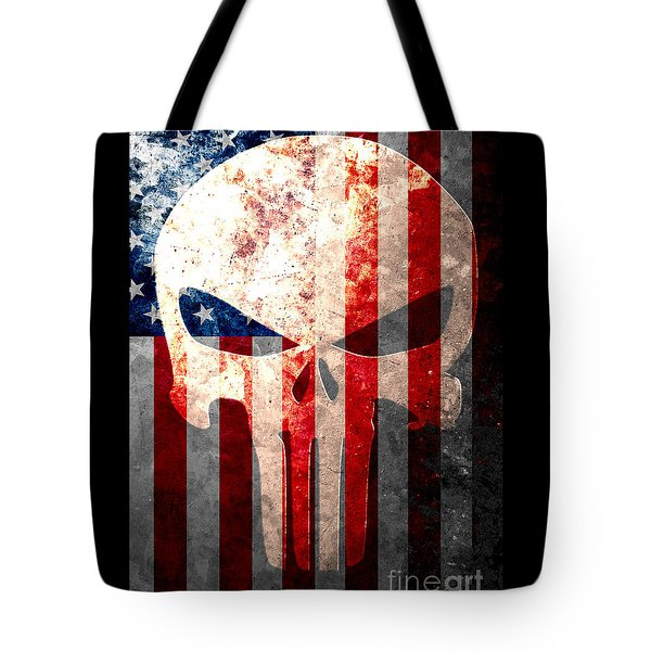 Punisher Skull And American Flag On Distressed Metal Sheet Tote Bag by M L C