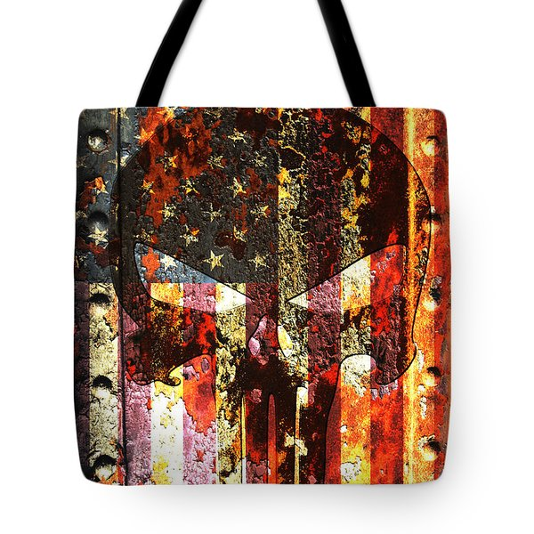 Punisher Skull On Rusted American Flag Tote Bag by M L C