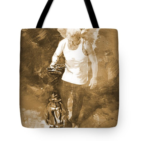 Tote Bag featuring the painting Puppet Show by Gull G