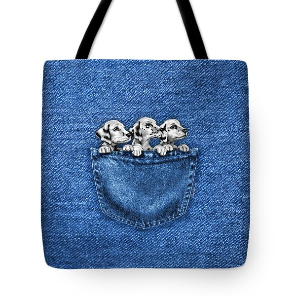 Puppies In A Pocket Tote Bag by Cindy Anderson