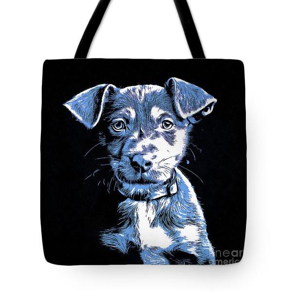 Puppy Dog Graphic Novel Drawing Tote Bag