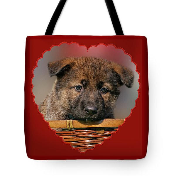 Tote Bag featuring the photograph Puppy In Red Heart by Sandy Keeton