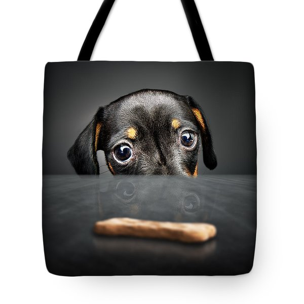 Puppy Longing For A Treat Tote Bag by Johan Swanepoel