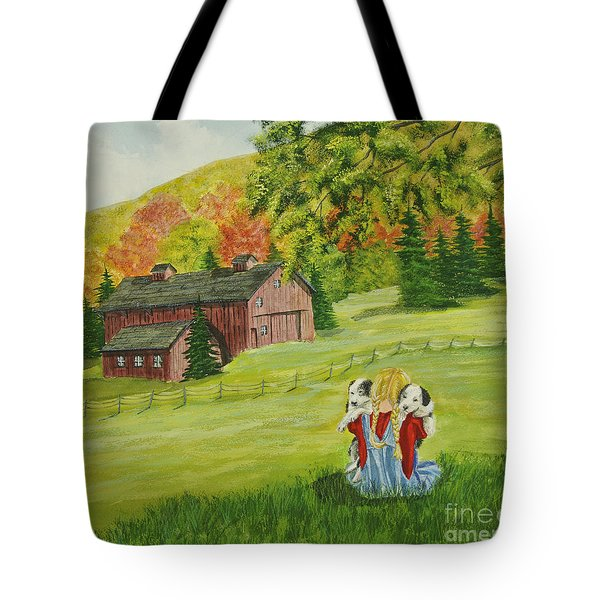 Puppy Love Tote Bag by Charlotte Blanchard