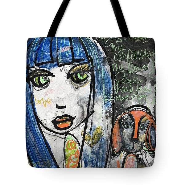 Puppy Love I Am Your Person Tote Bag by Laurie Maves ART