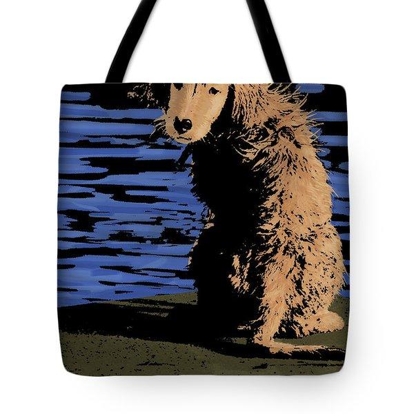 Puppy On Pier Pop Art Tote Bag