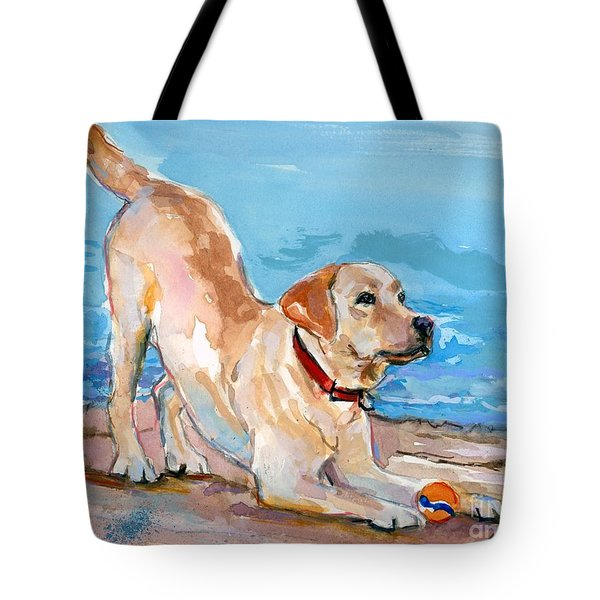 Puppy Pose Tote Bag by Molly Poole