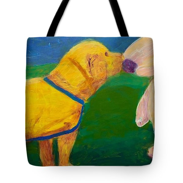 Puppy Say Hi Tote Bag by Donald J Ryker III