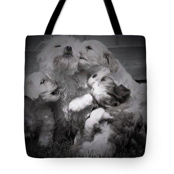 Puppy Vignette Tote Bag
