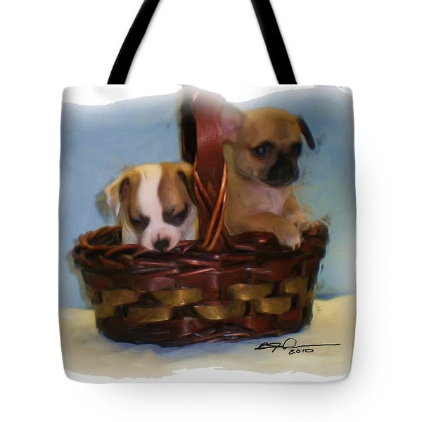 Pups In A Basket Tote Bag by Beverly Johnson