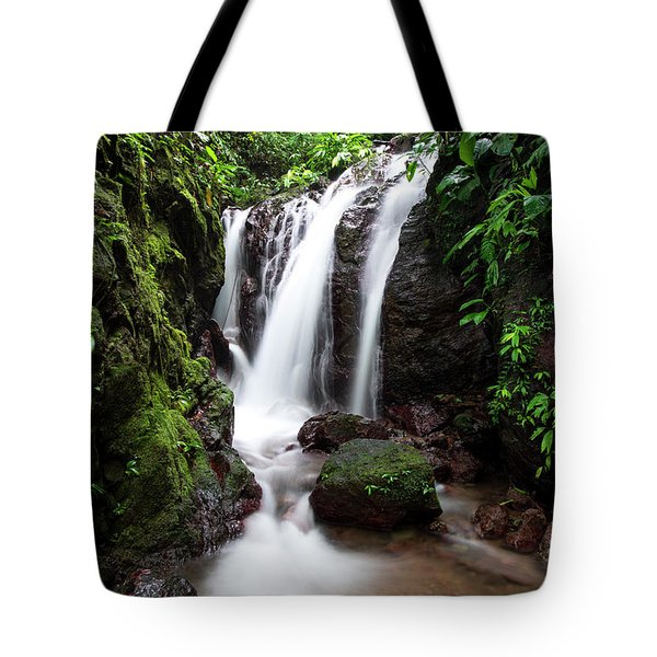 Tote Bag featuring the photograph Pura Vida Waterfall by David Morefield