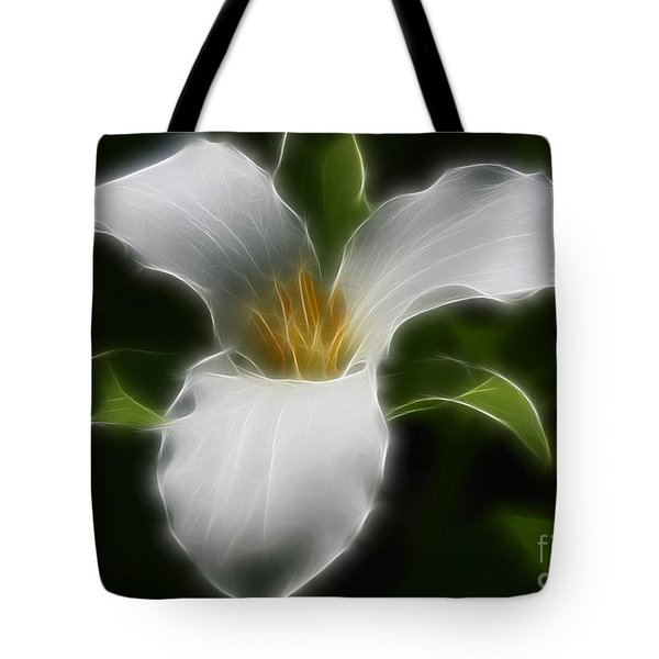 Pure White Trillium Tote Bag by Deborah Benoit