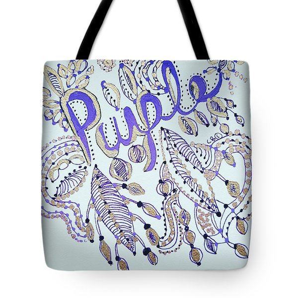 Tote Bag featuring the drawing Purple 1 by Carole Brecht
