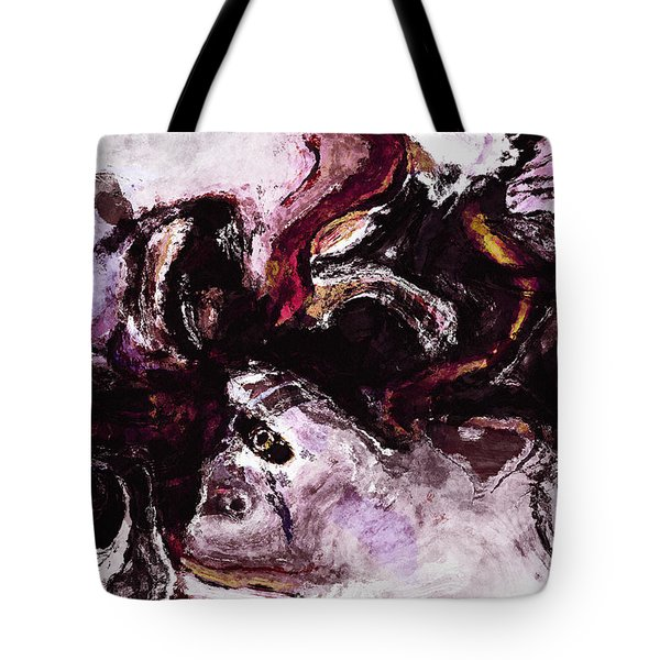 Tote Bag featuring the painting Purple Abstract Painting / Surrealist Art by Ayse Deniz