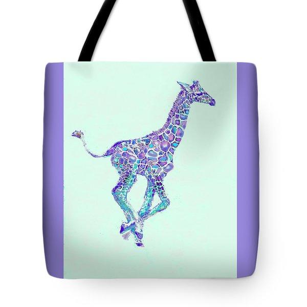 Purple And Aqua Running Baby Giraffe Tote Bag