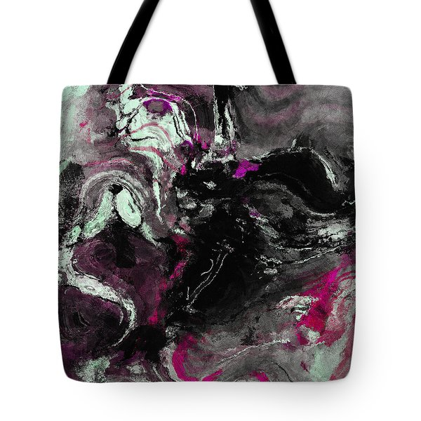 Tote Bag featuring the painting Purple And Black Minimalist / Abstract Painting by Ayse Deniz